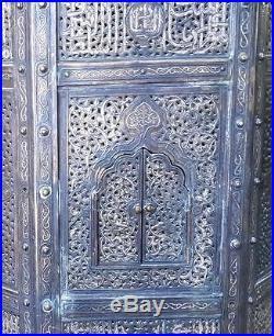 Antique Islamic Koran Table Quran Mamluk coffe Copper Pierced Brass Inlay silver