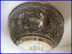 Antique Islamic Middle Eastern Qajar Solid Silver Bowl Signed