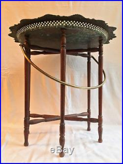 Antique Islamic Morroccan Egyptian Copper & Wooden Tray Table & Legs