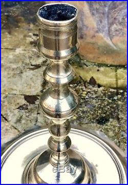 Antique Islamic/Persian/Arabic Brass Wide Base Candlestick. Possibly 17th C