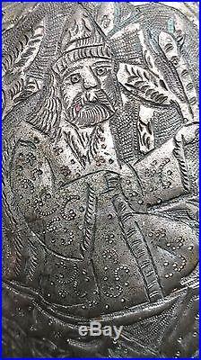 Antique Islamic Persian Ghajare Ya ali Darvish Kashkol Brass Copper Begging Bowl