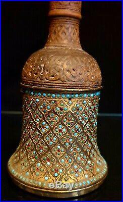 Antique Islamic Persian Hindu Hukka Moghul Period Real Rubies Turkuoise museum's