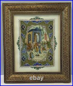 Antique Islamic Persian Miniature Painting on Bone / Listed Artist Rohani Signed