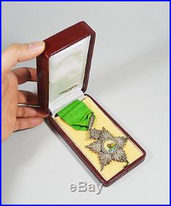 Antique Islamic Persian Qajar Order Of Lion And Sun Badges Medal Nichan With Box
