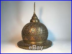 Antique Islamic Turkish Ottoman Brass Incense Burner Pierced Head / Lid / Lamp