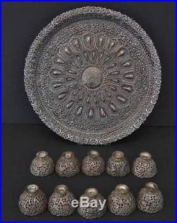 Antique Islamic Turkish Ottoman coffee set Silvered Copper Tray and 10 Zarfs