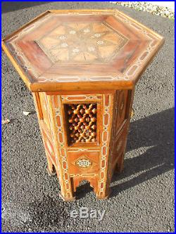 Antique Islamic inlaid lamp table, useful large 25 high size, octagonal form