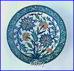 Antique Iznik Pottery Plate Hand Painted Jerusalem Palestine Armenian Pottery