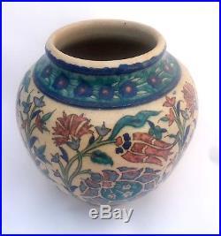 Antique Iznik Pottery Vase Hand Painted Jerusalem Palestine Armenian Pottery