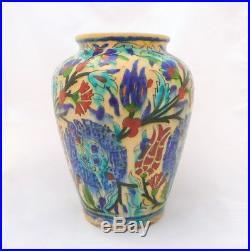 Antique Iznik Pottery Vase Jerusalem Palestine Armenian Pottery