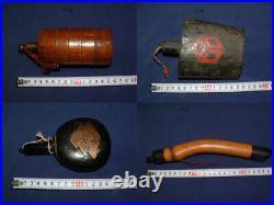 Antique Japanese Hinawaju Matchlock Black Powder Flask FIVE ITEMS
