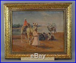Antique Karoly Cserna, Egyptian Arab & Camels Orientalist O/C Oil Painting NR