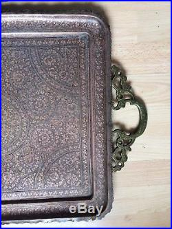 Antique Kashmir Brass Copper Chased Niello Large Tray