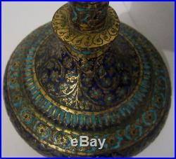 Antique Large Indian Kashmir Vase Enamel On Bronze