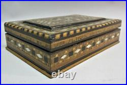 Antique MIDDLE-EAST Inlaid Backgammon Chip Box with Poker Chips c. 1920s Persian