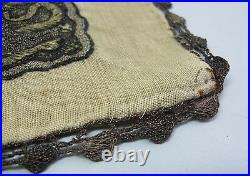 Antique Mid-19th C. OTTOMAN Gold Metallic Thread Embroidered Tablecloth c. 1870s