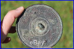 Antique Middle Eastern Bactrian bronze mirror with 5 knobs, 200 BC-100 AD