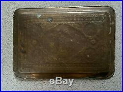 Antique Middle Eastern Brass Pictorial Tray