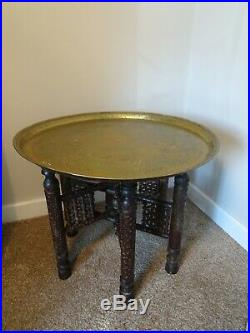 Antique Middle Eastern Carved Wood Folding Side Table with Engraved Brass Top