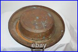 Antique Middle Eastern Copper Brass Serving Bowl Tray Snake Handles Rustic