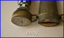 Antique Middle Eastern Curved Dagger Knife. Inlaid Handle and Brass Sheath