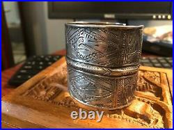 Antique Middle Eastern Hammered 800 Coin Silver Tribal Cuff Bracelet