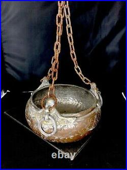 Antique Middle Eastern Islamic Beggar's Bowl mix-pot metal Copper Handchisled