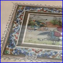 Antique Middle Eastern Islamic Painted Artwork In Hand Made Wood Mosaic Frame