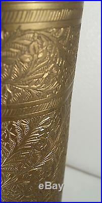 Antique Middle Eastern /Moroccan Ornate Carved Leaf Brass Table Lamp
