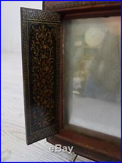 Antique Middle Eastern Persian Mirror Paper Maché Lacquer & Wood Qajar Period