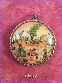 Antique Middle Eastern Persian Painted Shell Story Pendant Vintage Silver Frame
