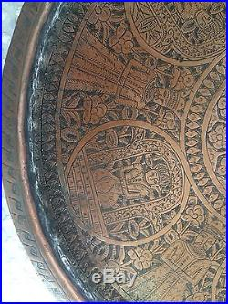 Antique Middle Eastern Round Copper Tinned Tray