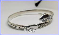 Antique Middle Eastern SIGNED Sterling Neillo Coiled Snake Bracelet