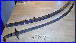 Antique Middle Eastern Shamshir Sword With Scabbard All Original And Beauty