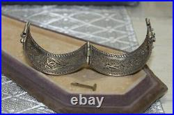 Antique Middle Eastern Sterling Silver Filigree Lace Cuff Bracelet 7 1/2