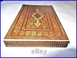 Antique Middle Eastern Wooden Micro Mosaic Qajar Inlay Mirror Case