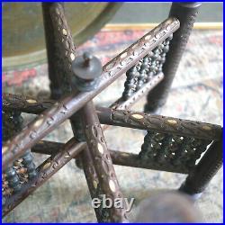 Antique Moorish Folding Side Coffee Mashrabiya Table Brass Tray Liberty Style