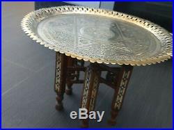 Antique Moroccan Brass Tray Table Circa 1930s