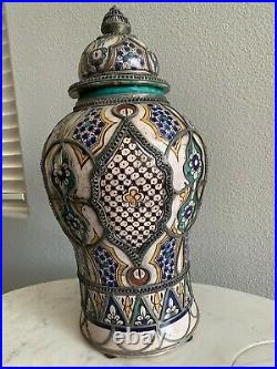 Antique Moroccan Ceramic Lidded Vase From Fez With Silver Filigree