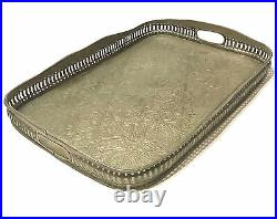 Antique Moroccan Fez Islamic Arabic Geometric Silver Plated Brass Tray Signed