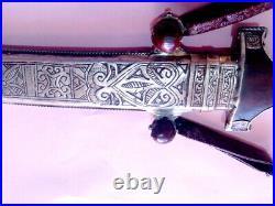 Antique Moroccan Koumya dagger British blade1855 Khanjar Islamic Silver Sterling