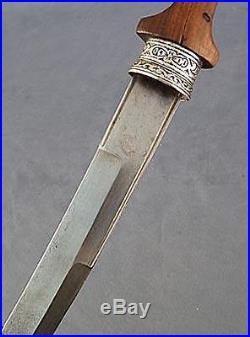 Antique Moroccan Maghrebi Arabic Dagger Jambiya Islamic Koummya In Silver