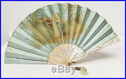 Antique Mother of Pearl Abalone MOP Oil on Silk Painted Fan European