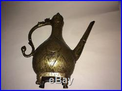Antique Mughal Indian Bronze Chased Ewer