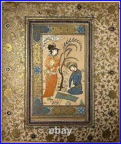 Antique Museum PC 1600 C Gold Illuminated Safavid Miniature Painting Islamic Art