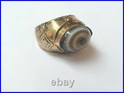 Antique Natutal Eyes Agate Ring 14K Gold 8.5US Ethnic Vintage Middle Eastern