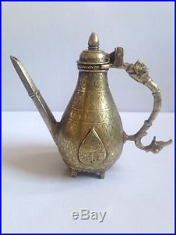 Antique North Indian Mughal Chased Bronze Ewer