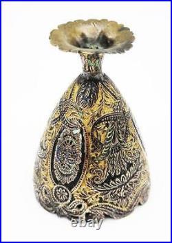 Antique OTTOMAN TURKISH TOMBAK GILT COPPER & ENAMEL ZARF CUP c1890