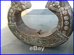 Antique Old Ancient Pair Of Persian Islamic Middle Eastern Bronze Cuff Braclets