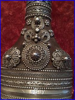 Antique Omani Jambiya Khanjar Dagger Knife Arab Saudi Yemen Silver Arabian Horn